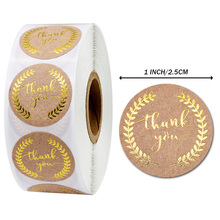 500 pcs / roll gold foil kraft paper thanks stickers patch round seal label diary sticker office stationery