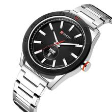 цена CURREN Top Brand Quartz Watch Newest Design Silver Steel Bracelet Waterproof Racing Series Men Black Dial Sports Wristwatch онлайн в 2017 году