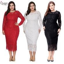 Plus Size Long Sleeves Lace Evening Dress Mermaid Tea-length Scoop Dress Zipper-up Dress for Party vestidos de fiesta de noche