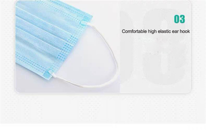 20Pcs/Pack Disposable mask 3-Layer Non-woven Disposable Elastic Mouth Soft Breathable Flu Hygiene Face Mask as KN95 KF94
