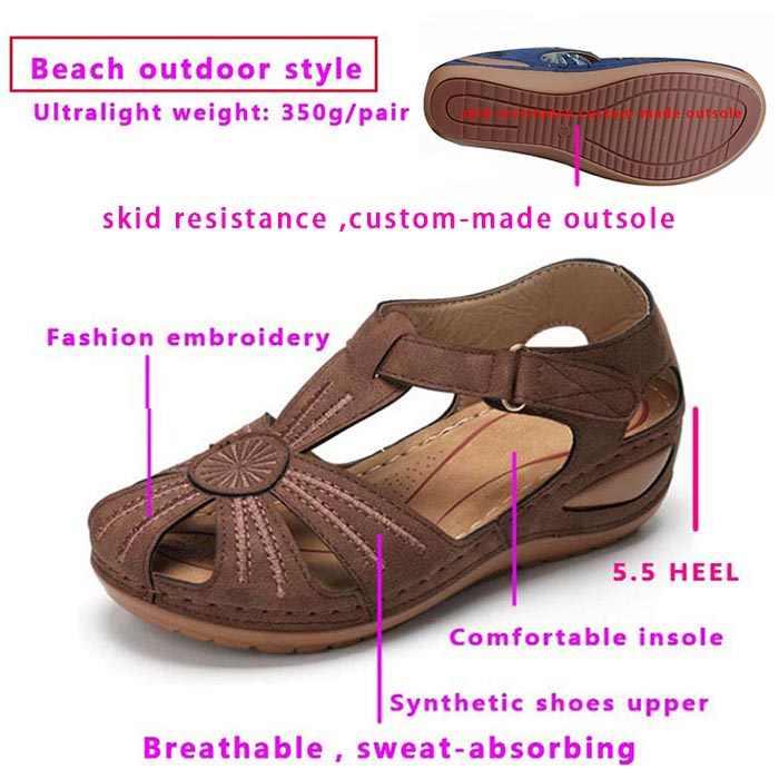 Açık plaj gladyatör sandalet kadın delik ayakkabı kama platformu rahat rahat bayanlar görünmez yükseklik sandalet kahverengi