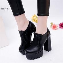 超高ヒールの女性のシングル靴ローヒールの靴と裸ブーツ防水ファッション2020秋の新スタイルの作業靴ファッション