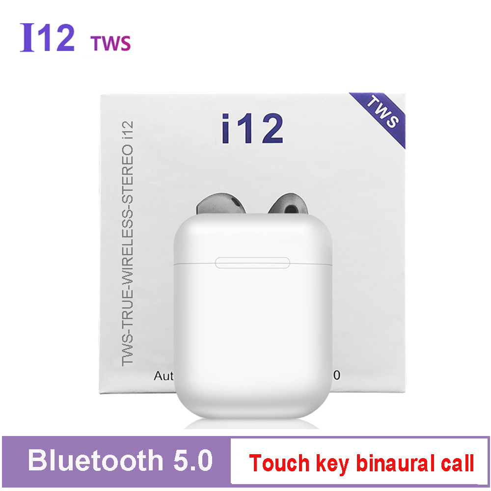 <font><b>i12</b></font> <font><b>TWS</b></font> <font><b>Original</b></font> Bluetooth Wireless Earphones Earbuds HIFI Bass Bluetooth Headset Sport Touch Button with MIC PK i10 i7s i9 <font><b>tws</b></font> image