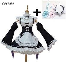 Re Zero Kara Hajimeru Kawaii Isekai Seikatsu Ramu RAM Remu REM Cosplay Christmas Dress Maid Apron Dress Outfit Uniform Sets