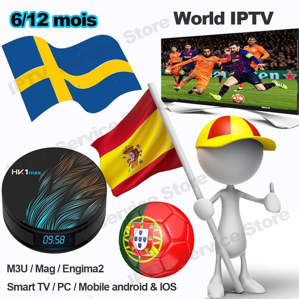 Iptv Sweden Spainish Portugal M3u Iptv Spain España Nordic Israel Code Abonnement Enigma2 Smart Tv Subscription HK1 Max Tv Box
