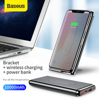 Baseus 10000 mAh Power Bank QI Carregador Sem Fio Para iPhone Samsung Huawei Tipo PD + QC3.0 Rápido Carregamento Powerbank Portátil -C Porta