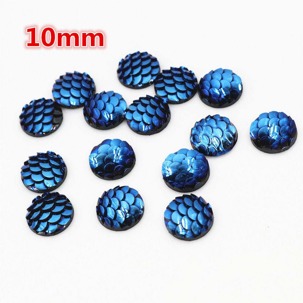 10mm 40pcs/Lot Ice Blue Colors Fish Scales Style Flat Back Resin Cabochons For Bracelet Earrings Accessories-O2-22