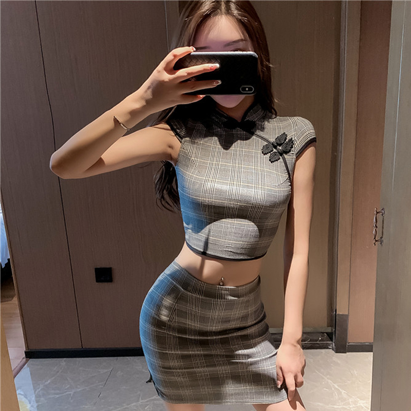 2020 Chinese Dress Women Short Sleeves Vestidos Vintage Qipao Cheongsam Lingerie Vestido Chino Mandarin Collar Qi Pao Set