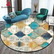Área do tapete para sala de estar estilo marroquino europeu do vintage tapete redondo crianças quarto natal tapete 100% poliéster