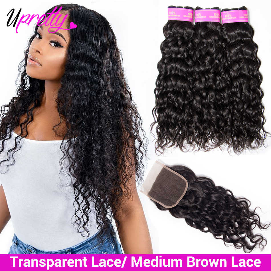 Upretty Brazilian Water Wave Bundles With Closure  HD Transparent Lace Closure With Bundles Wet And Wavy Human Hair With Closure