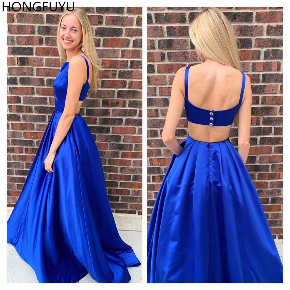 HONGFUYU Royal Blue   Prom     Dresses   Long Satin Party   Dresses   Formal Evening Wear Pageant Gowns gala jurke with Pockets Backless
