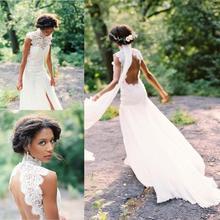 País vestidos de casamento 2020 rendas gola alta sem mangas vestidos de novia aberto volta sexy lado dividir noiva vestidos de casamento