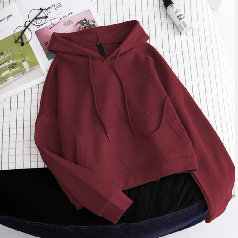 Autumn And Winter Women's New Street Hooded Plus Velvet Thick Pullover Women's Loose Students Have Pocket Long-sleeved Shirts