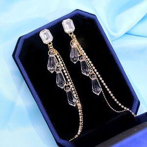 Wysokiej jakości kryształowe kolczyki Tassel w dłuższym stylu dla kobiet eleganckie koreańskie francuskie czerwone do ucha wisiorek 2020 w nowym stylu