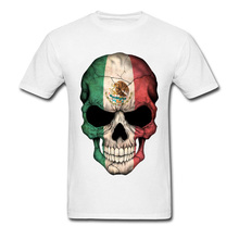 PP Skull Mexican Flag T Shirt Calavera White 3D Print Geek Tshirts Men Easter Monday Street T-Shirt Skulls Skeleton