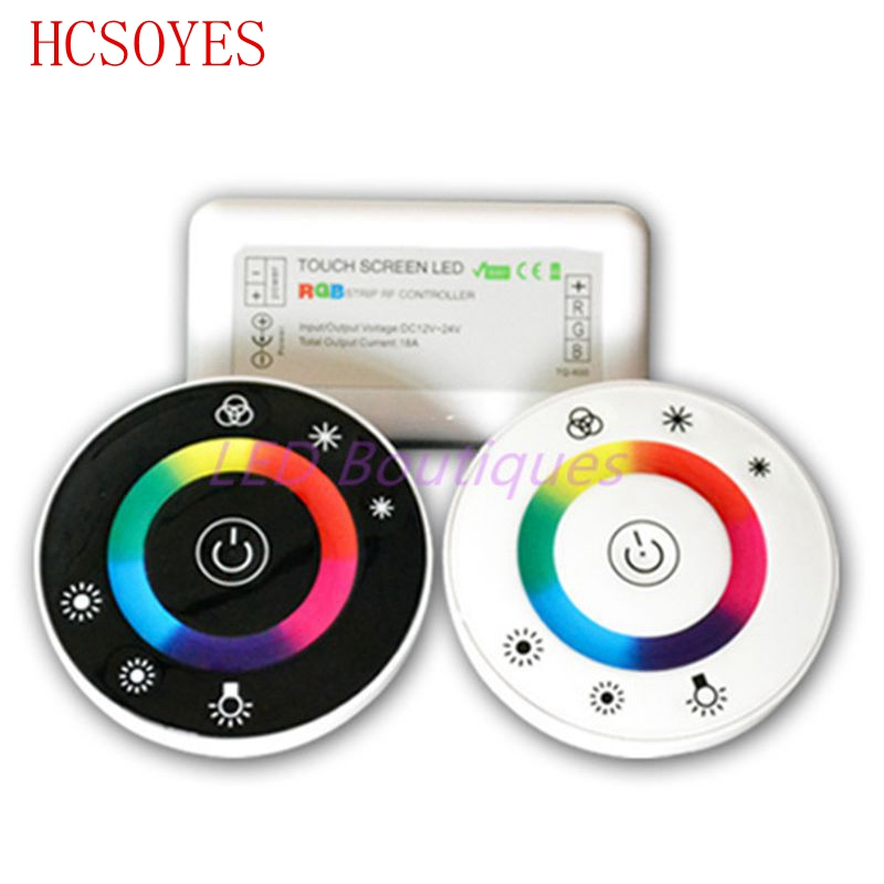 18A 7 Keys RF Remote Controller LED Touch Round RGB Controller DC12V-DC24V