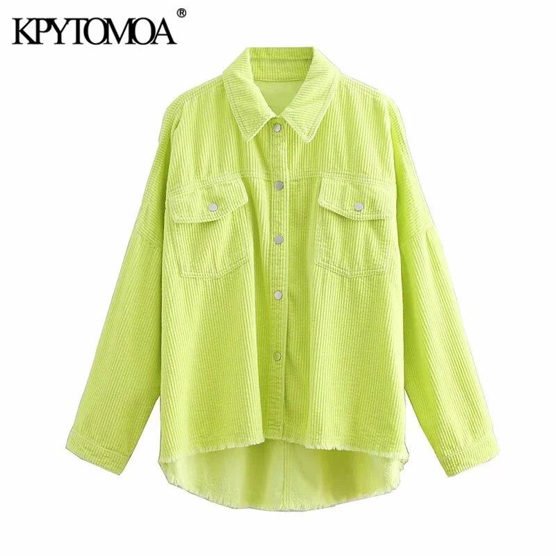 KPYTOMOA Women 2020 Fashion Oversized Frayed Trim Corduroy Blouses Vintage Long Sleeve Pockets Loose Female Shirts Chic Tops(China)