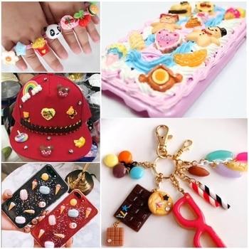 8pcs encantos bonitos doces de resina para lodo enchimento diy bolo ornamento decoração do telefone encantos de resina lizun slime suprimentos brinquedos 1