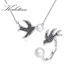 KALETINE 925 Sterling Silver Black Agate Swallows Cute Open Pearl Bird Necklace Ring Set Party Female Lucky Gifts Jewelry Set