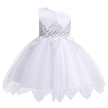 цена на Summer Backless Big Bow Infant Baby Girls Dress Lace Tutu Evening Kids Dresses for Girls Party Wedding Baby Clothing