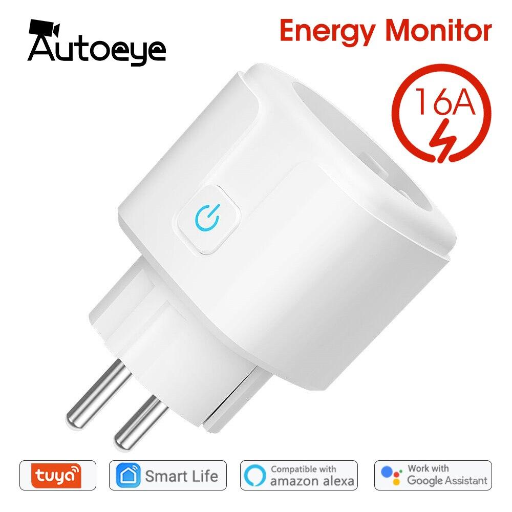 Wi-Fi Smart Plug 16A ЕС розетка стандарта США Tuya Smart Life приложение работает с Alexa Google Home голосовой помощник Управление Мощность монитор ГРМ