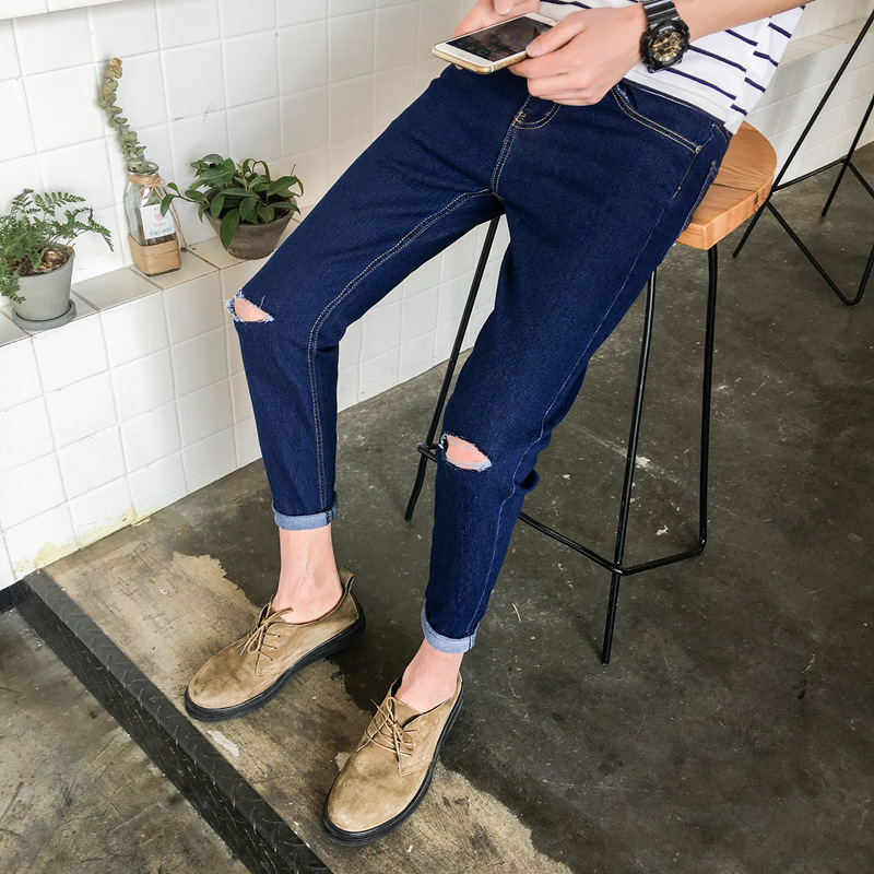 Spring And Autumn Jeans Men's Slim Fit Korean-style Teenager Elasticity Men's Skinny Long Pants Cool