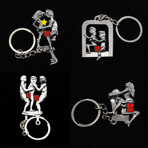 New Moving Lovers' Keychain Simulation Activity HAPPY MAN Charm Metal Couple Key Chain Good party Gift Key Ring K3146