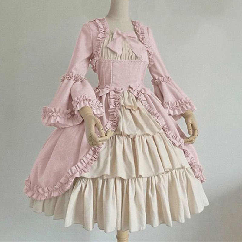 Sweet lolita dress vintage printing lace bowknot fly sleeve high waist victorian dress kawaii girl gothic lolita