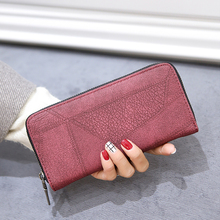 Women Matte Wallets And Purses Leather 2019 Fashion Retro Purse Lady Long Wallet For Credit Cards Vintage Long Clutch Holders