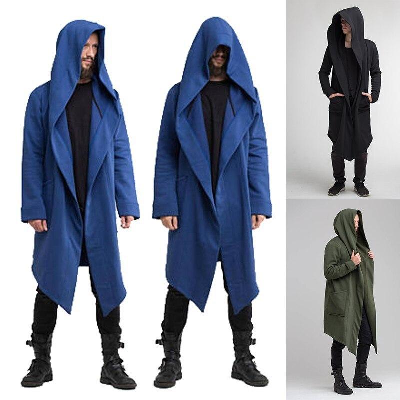 Men's Sweatshirt With Hood Long Mantle Hoodies Outerwear Solid Color Hooded Streetwear Loose Long Hooded Sweatshirts