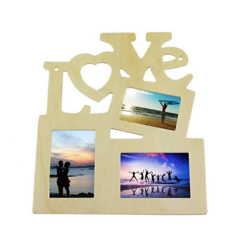 1PC Novo Amor Oco Tri-ply de Madeira Em Branco DIY Quadro Pintura Imagem Photo Frame Art Home Decor