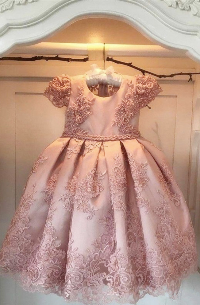 Pink Girls Flower Dresses For Party Pearls Sash Bow Cap Sleeves Flower Girl Dress Lace First Communion Dress in Dresses from Mother Kids