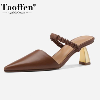 Taoffen Women Summer Shoes Real Leather Strange Heels Pointed Toe Summer Shoes Women Fashion Sexy Shoes Footwear Size 33-40