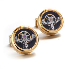 Gold Color Movement Tourbillon Cufflinks For Mens Lepton High Quality Mechanical Watch Steampunk Gear Cuff Links Relojes Gemelos(China)