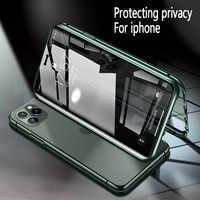 Frontal y trasero magnético doble vidrio templado privacy metal funda para teléfono antiespía para Iphone11 Pro MAX XR XS X 8 7 6 6s plus