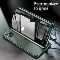 Przednie i tylne magnetyczne podwójne szkło hartowane prywatność metalowe etui na telefon Antispy pokrywa dla Iphone11 Pro MAX XR XS X 8 7 6 6s plus w Dopasowane obudowy od Telefony komórkowe i telekomunikacja na