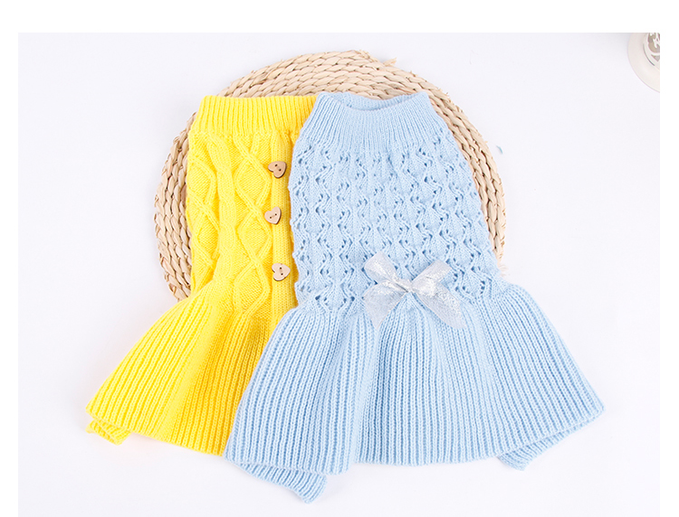 Sweet Pet Dog Sweater Skirt Autumn Winter Dog Dress Cats Sweater Pet Knitted Pullover For Small Dogs Warm Dog Clothes Cats Coat (9)