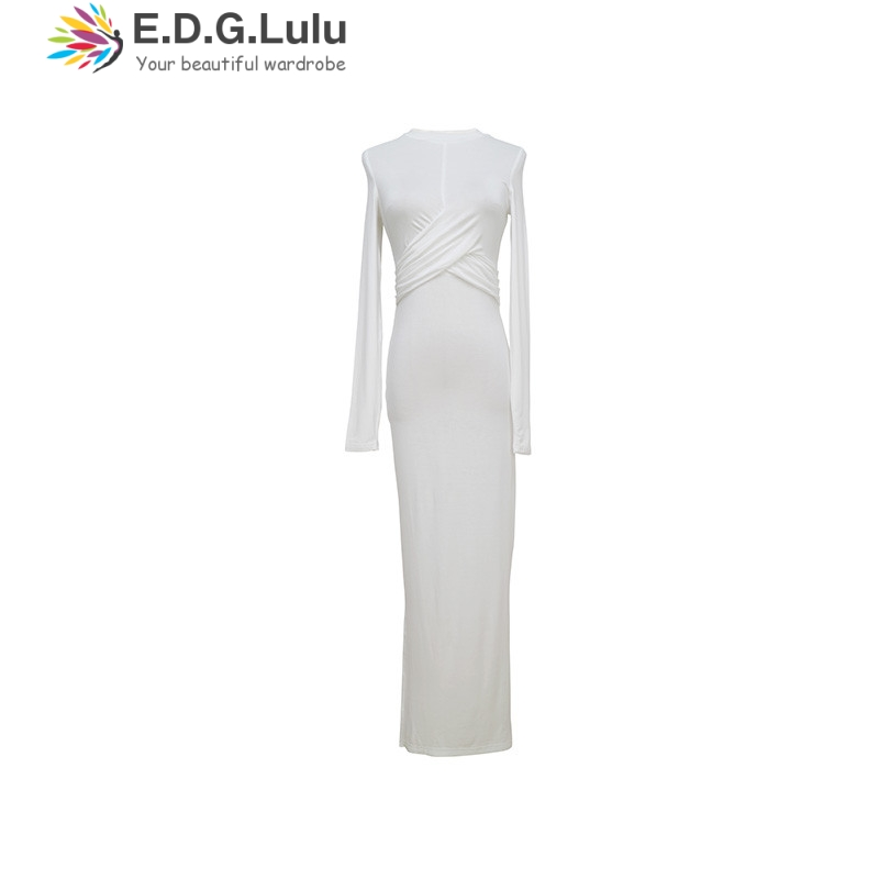 EDGLuLu vintage elegant women white bodycon <font><b>dress</b></font> o neck long sleeve cross long <font><b>dresses</b></font> woman party night image