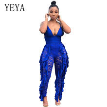 YEYA Sexy Lace Floral Stitching Jumpsuits Femme Elegant Sleeveless V-neck Women Overalls Ruffle Patchwork Bodycon Long Rompers