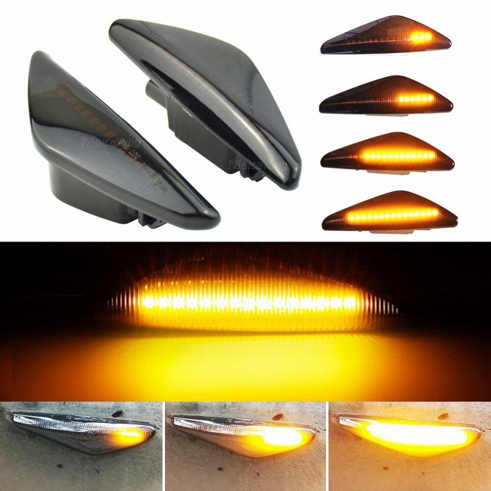 2 шт. дым динамичные плавные Светодиодный Боковой габаритный фонарь сигнала светильник для BMW X5 E70 X6 E71 E72 X3 F25 последовательного мигалки лампы