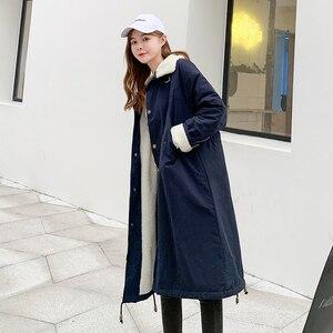 Image 2 - Cảnh bắn hạ Áo khoác mùa đông năm mới bông dài Áo đệm cotton nữ sinh viên dài hơn   Đầu gối con cừu cái áo khoác len