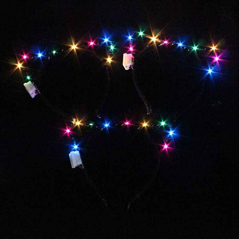 หูแมว LED ไฟสีผม Hoop กระพริบ Glow Headband มงกุฎหัวใจ Hairbands อุปกรณ์เสริมผม Glow Party Supplies