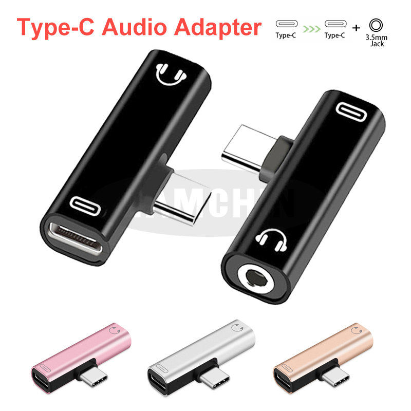 Mini Type C Audio Adapter For Huawei Samsung 2 In 1 Type C To TypeC Type-C To 3.5mm Jack Headphone Cable Usb C Charging Adapter