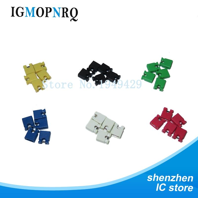 100PCS Jumper Short Caps And Heads And Shell 2.54MM Black Yellow White Green Red Blue Jumper Short Cap Kit  6 * 20pcs = 120pcs