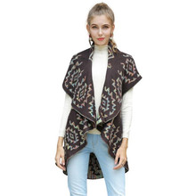 Women's Knit Cardigan 2019 Autumn and Winter New Fashion Jacquard Sweater Jacket Sleeveless Knit Cloak Cape Cardigan cardigan недорго, оригинальная цена