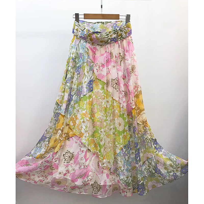 Top Quality Runway Floral Skirts 2020 Spring Summer Holiday Style Flowers Print High Waist Long Skirts For Women