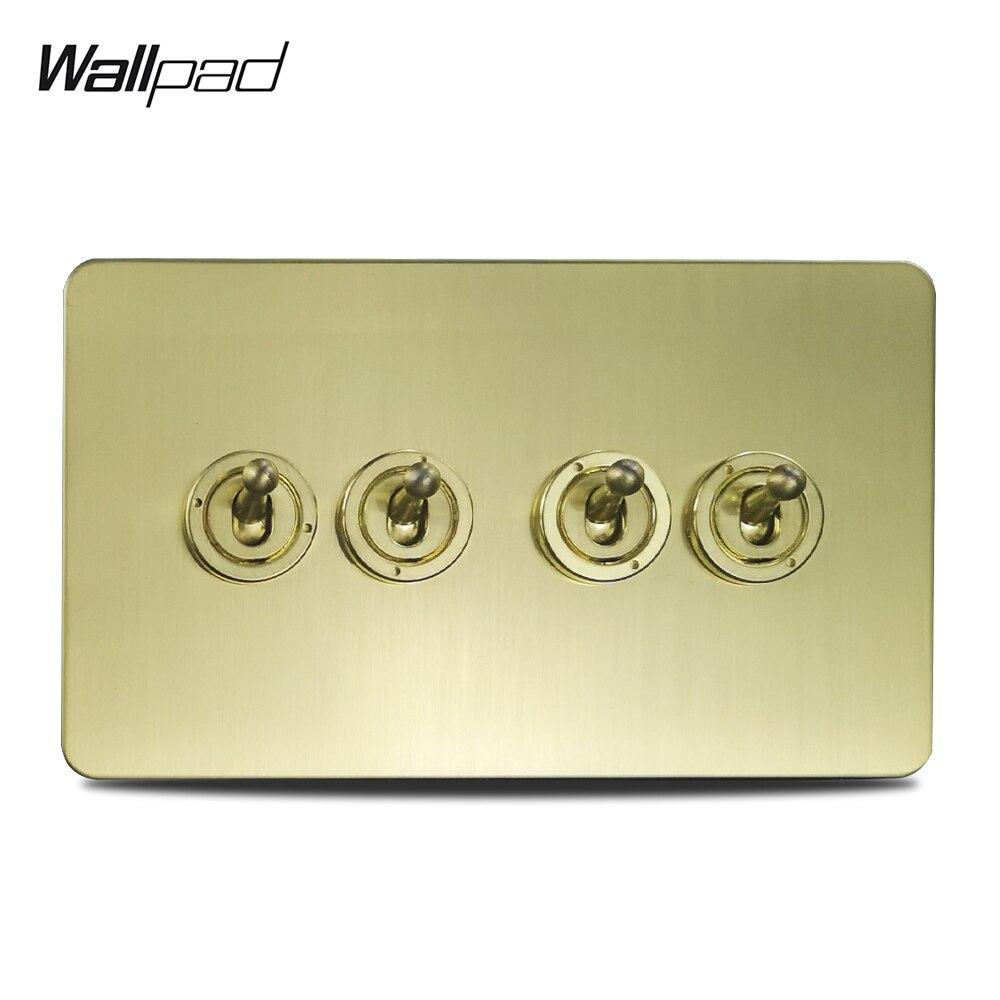 Wallpad 4 Gang 2 voies interrupteur à bascule interrupteur électrique en laiton brossé satiné couleur or panneau en acier inoxydable