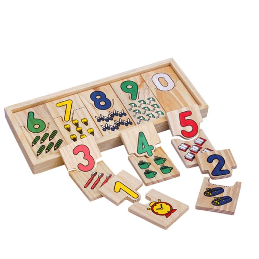 Números de aprendizagem de madeira, quebra-cabeça educacional, brinquedos de aprendizagem com caixa de armazenamento, material de contagem para crianças #30