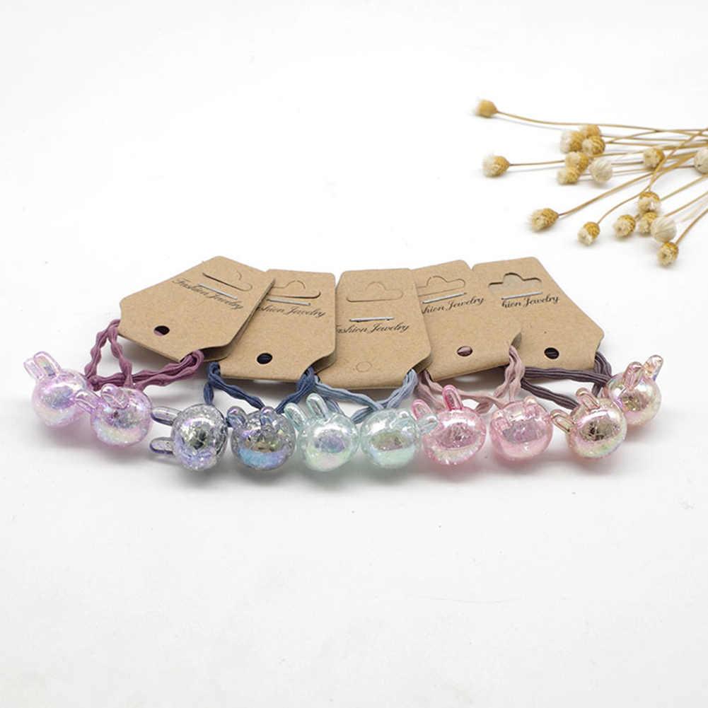 Bandas de pelo de cuentas redondas de cristal con gomas de pelo de cola de caballo y accesorios elásticos para niñas y mujeres