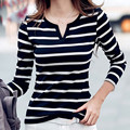 25 # Женские футболки в полоску с длинными рукавами, v-образным вырезом льняные мешковатые рубашка, рубашка для девушек, блузки, топы, летняя, п...